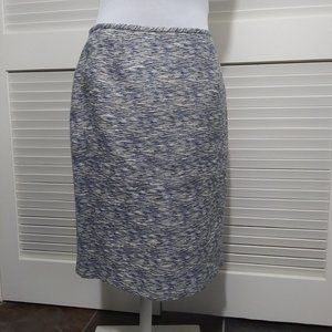 Calvin Klein Blue and White Straight Tweed Skirt